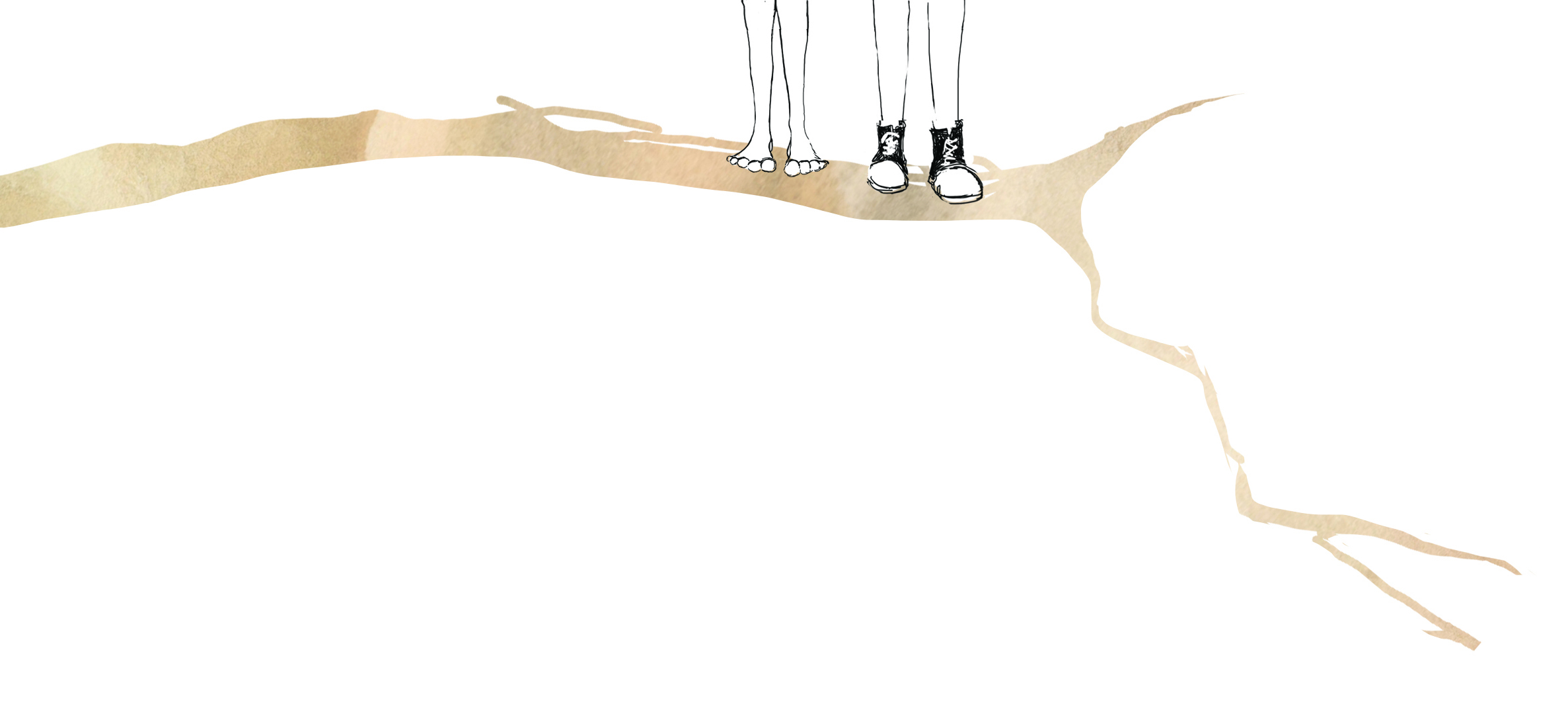 Wendy and PJ are standing on a branch. Wendy is barefoot, PJ wears his sneakers. You can only see their feet in this image. The rest of their bodies go off the page.