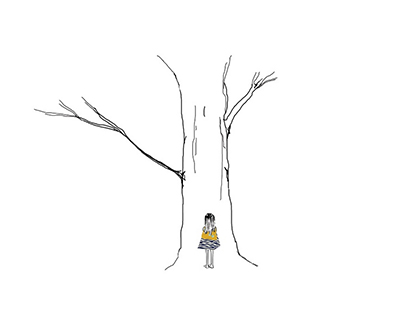 Wendy is standing face forward in front of Mother tree, (a white  drawing of a tree outlined in black). She has on a blue collaged tank top, and an orange collaged skirt.